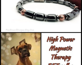 Custom Magnetic Pet Collar SUPER Power Clasp  therapy Hematite and Copper High Strength Magnetic Custom Sized pet jewelry Wellness Health