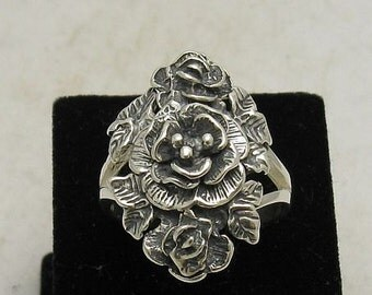 R000503 Sterling Silver Ring Solid 925 Rose Flower