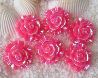Resin Stunning AB Flower Cabochon - 20 mm - 12 pcs - Medium Pink