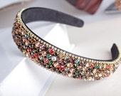 Fancy Gem Stone Multi-Color Crystal Headband