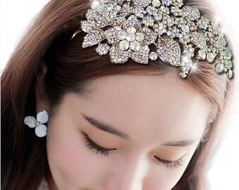 Bridal AB Crystal Flower Headband