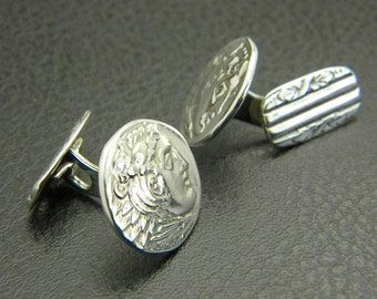 Sterling silver cufflinks Alexander the Great , men jewelry ,men accessories, antique style wedding gift, men's cuff link, gift for men