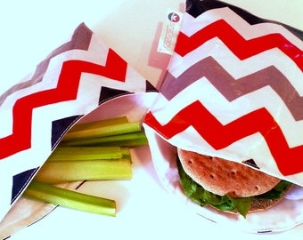 Multi Chevron Snackaby dishwasher-safe reuseable sandwich and snack bag set