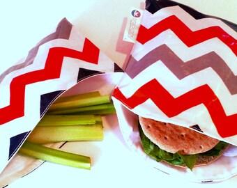 Multi Chevron Snackaby dishwasher-safe reuseable sandwich and snack bag set