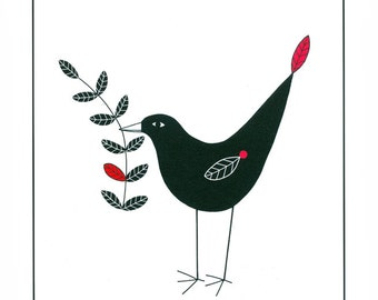 Ink illustration, Black bird art, Nature art, Bird drawing, Pen and ink, Hand drawn, 10 x 8, Art print, Modern art, Wall art, Bird with leaf