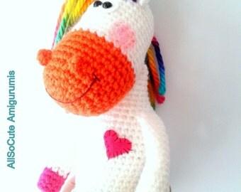 CROCHET PATTERN - Horse Pattern, Crocheted Pony, Horse, Unicorn Pattern, Instant Download, Tutorial