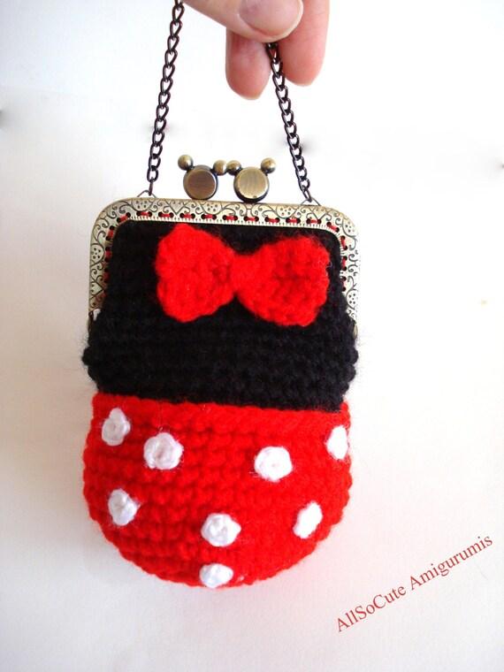 Free Crochet Mickey Mouse Purse Pattern : PATTERN Girls Bag / Purse Minnie Mouse crochet girl by ...