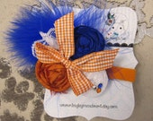Orange & Royal Blue rosette feather headband/ hairclip