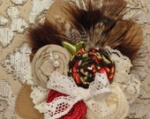 Elegant Vintage Christmas Lace rosette feather headband/ hairclip