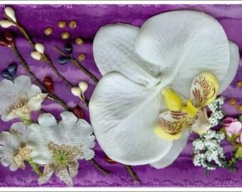 3D White Orchid Arrangement