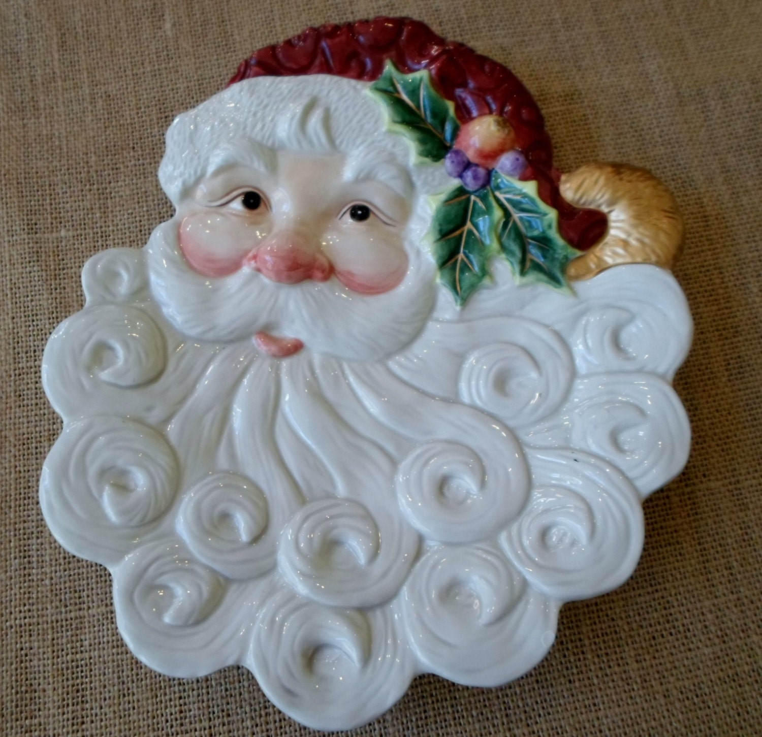 Fitz and floyd santa claus canape plate candy dish for Fitz and floyd canape plate