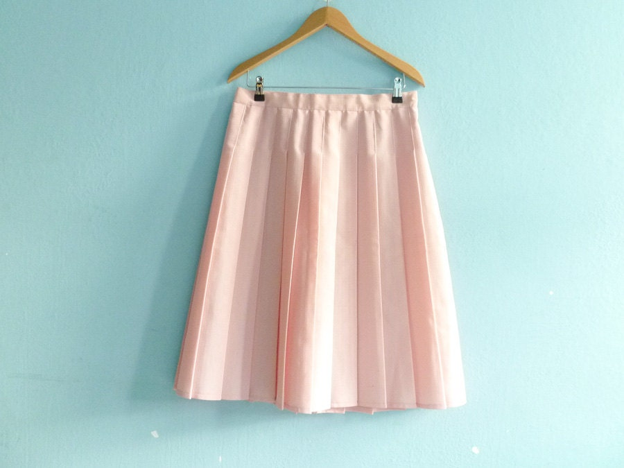 vintage light pink skirt pleated a line high by
