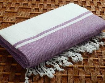 SALE %50 Off Personalized Turkish Towel - Karia Peshtemal - Monogramed Embroidered- Purple - Spa Sauna Yoga Bachelorette Party Beach Wedding