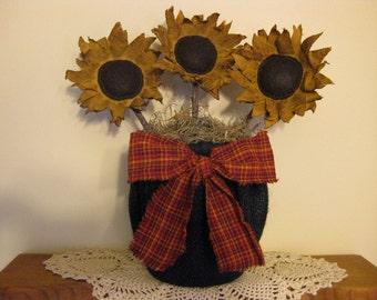 "Sunflower Primitive Centerpiece in Black Burlap ""Flower Pot"" - Fabric Sunflower Bouquet- Spring/ Summer/Fall Table Decor -Flower Arrangement"