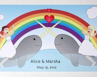 Lesbian Wedding Invitation - Postcard Style, Narwhal Wedding Invitation, Funny Wedding Invitation, Recycled Paper