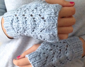Blue Organic Cotton Fingerless Mittens