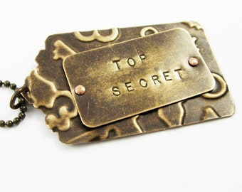 Office Accessory (Top Secret Metal Tag for Laptop Bag, Filing Cabinet)