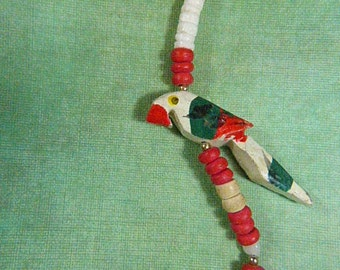 Vintage 1970s Hand Painted Wood Parrot Necklace - N-434