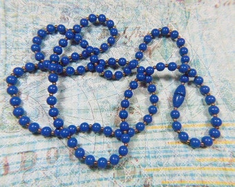 Vintage Blue Bead Necklace - N-306 - Blue Necklace - Blue Jewelry