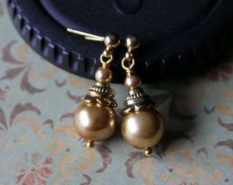 Gold Pearl Small Dangle Earrings