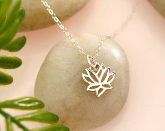 Tiny Sterling Silver Lotus Necklace, Tiny Gold Vermeil Lotus Necklace, everyday, gift, wedding, bridal, best friends