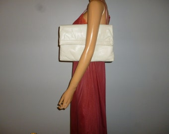 Vintage 80's - Huge - Ivory - Ecru - Bone - Leather - Envelope - Clutch - Bag - Purse - 13.5 x 9 x 1.25