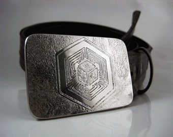 Tesseract Belt Buckle - Etched Stainless Steel - Handmade