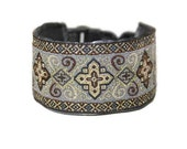 Arabian Nights Collection -Silver and Gold Jacquard - Martingale or Wide Clip Italian Greyhound Collar