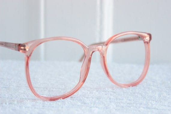 80s glasses vintage 198039s round eyeglasses pink oversize clear light