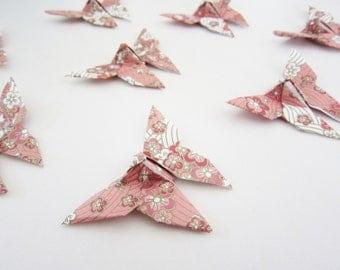 LAST SET 25 Blush Pink Dogwood Blossom Chiyogami Origami Butterflies