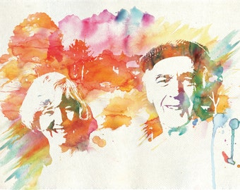 """Custom Water Color Portrait - Gift for Him/Her -  11x17"""""""