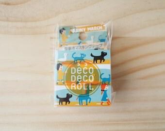 ASAMIDORI Masking tape, Deco-Deco roll, Die cut, Rainy March