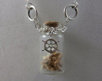 Shipwreck Vial with Shark Teeth Silver Chain Necklace