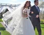 Bridal Veil - Waltz Length Drop Style Wedding Veil with Sheer Organza Ribbon Edge and Blusher- Blush or Champagne Circle Cut Veil - Fez