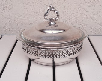 Vintage ONEIDA Silver Plated Casserole Dish Stand Holder With Pyrex Clear Glass Casserole Dish.