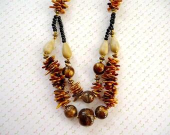 Brown Black Plastic Beads, Necklace & Earnings, Brown Black Necklace, Necklace, Beaded Jewelry, Bead Necklace, Earrings
