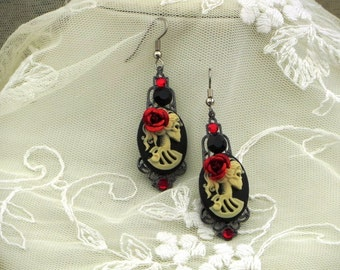 Lady LOLITA Victorian SKULL CAMEO Earrings -  Pirate Skelly Dangles