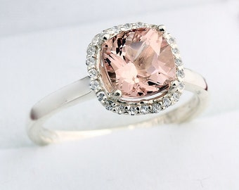 7mm Antique Cushion cut  1.55 ct  Natural  Morganite Solid 14K White Gold Diamond Engagement Ring - Gem843- ON SALE