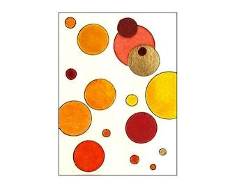 Mixed Media Art: Red, Orange, Yellow and Metallic Gold Circles and Dots - Original Tori Amos Inspired  ACEO