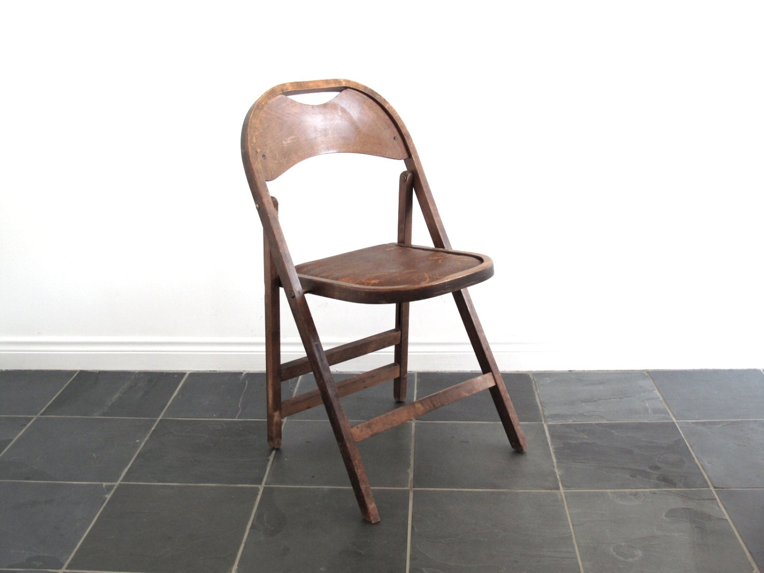 antique wood folding chair wood art deco by snapshotvintage
