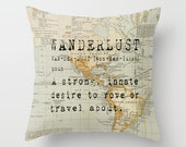 Throw Pillow Cover - Wanderlust on Vintage Map of the World - 16x16, 18x18, 20x20 - Pillow Case Original Design Home Décor by Adidit