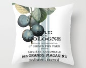 Throw Pillow Cover - Plum Fruits on Vintage Ephemera with Stripes - 16x16, 18x18, 20x20 - Pillow case Original Design Home Décor by Adidit