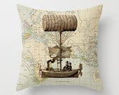 Throw Pillow Cover - Airship in Sepia on Vintage Map of the World - 16x16, 18x18, 20x20 - Pillow Case Original Design Home Décor by Adidit
