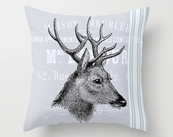 Throw Pillow Cover Deer Head with Stripes on Vintage Ephemera - 16x16, 18x18, 20x20 - Bedroom Nursery Original Design Home Décor by Adidit