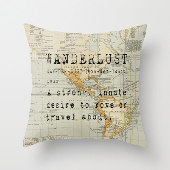 Decorative Pillows Travel Theme : Throw Pillow Cover Wanderlust on Vintage Map of the World