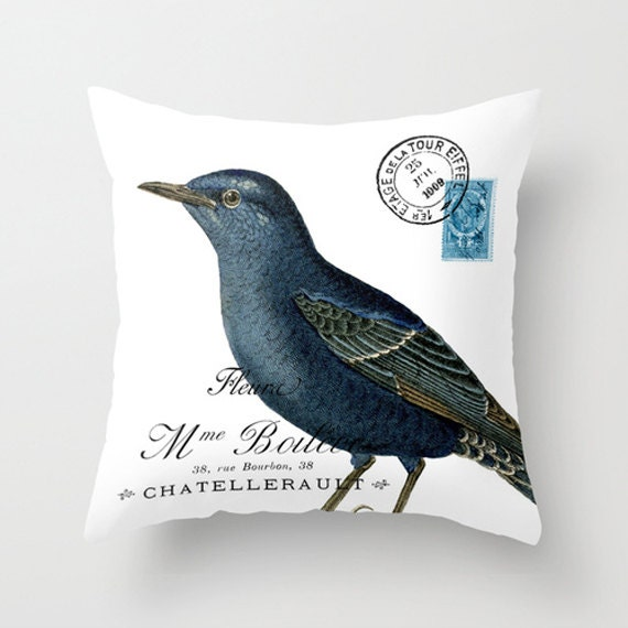Blue Bird Throw Pillows : Throw Pillow Cover Blue Bird on Vintage Ephemera 16x16