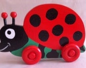 Lizzy the Ladybug, wooden push toy, kids toy