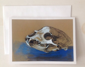 Bear Skull no.1, 5x7 card of an Original ink Drawing and gouache paint on brown paper, Ready to Ship