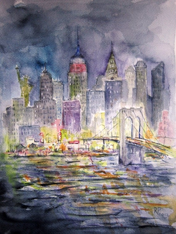 New York City Skyline Print Of Original Watercolor By Rpeppers