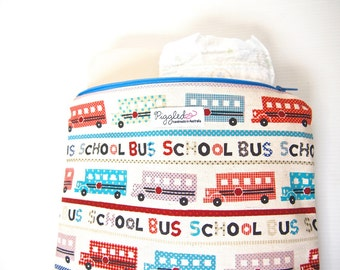 SALE - 30% off - Large Zippered Wet Bag Water-resistant Pouch  - School Bus